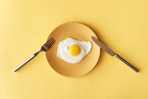 fried egg on yellow background, top view