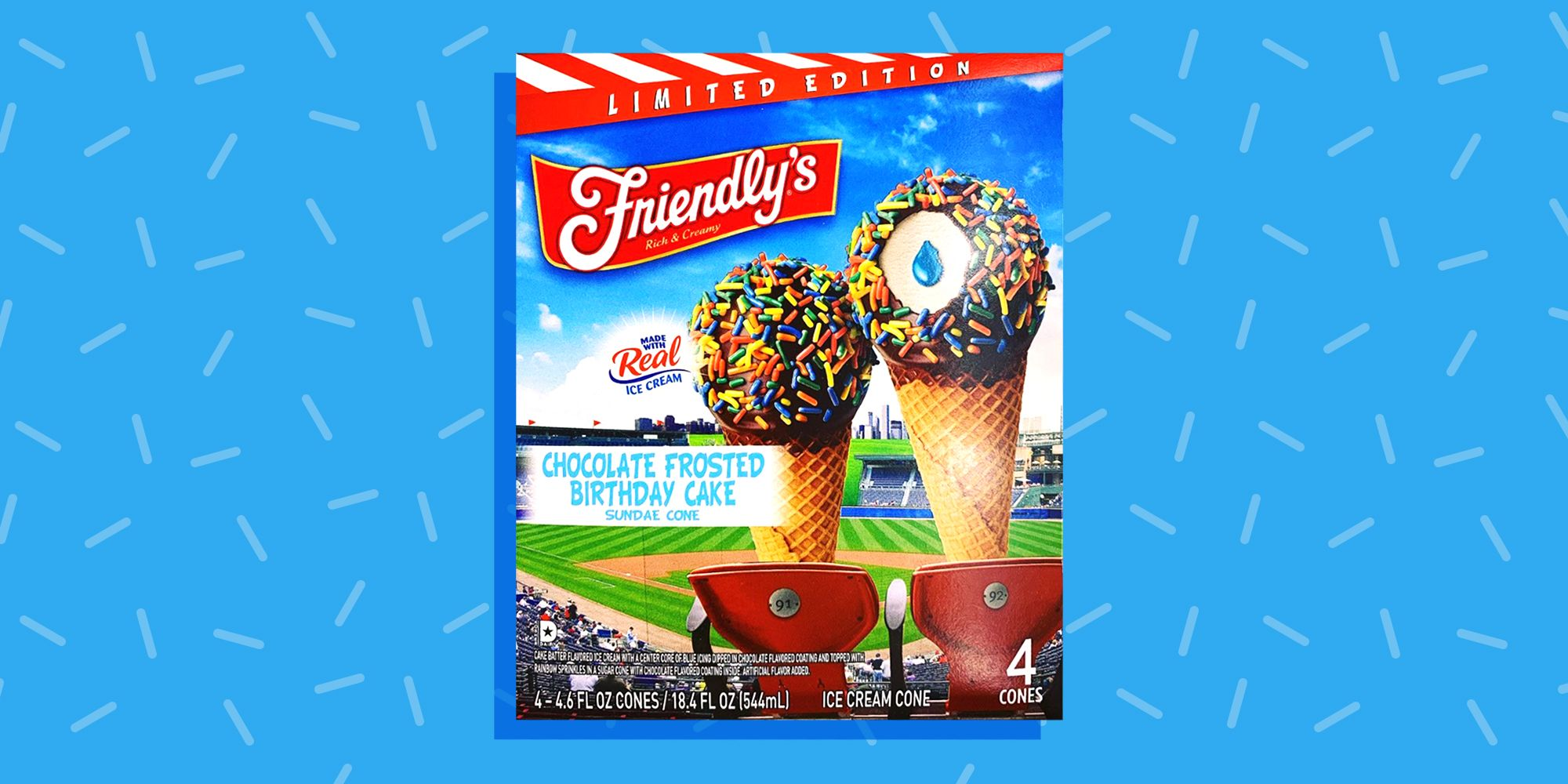 Friendlys Releases Birthday Cake Sundae Cones With A Blue Icing Center