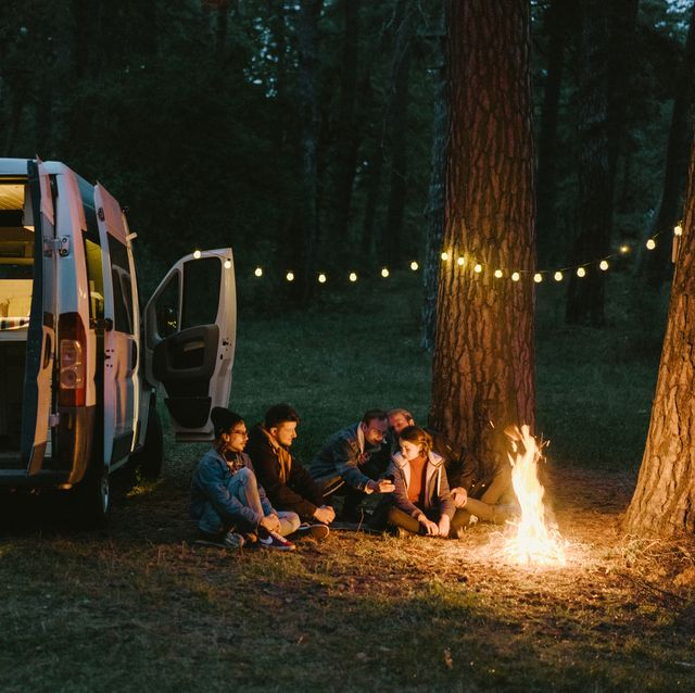 Friends camping near the forest