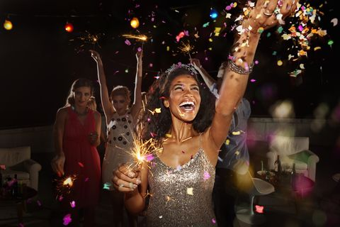 Friends celebrating at New Year's Eve party