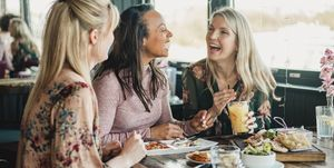 Women enjoying meal - how to eat out at restaurants for less