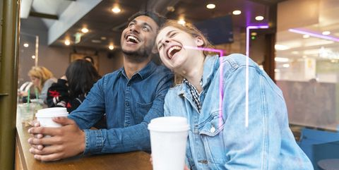 friends having fun together in a coffee shop