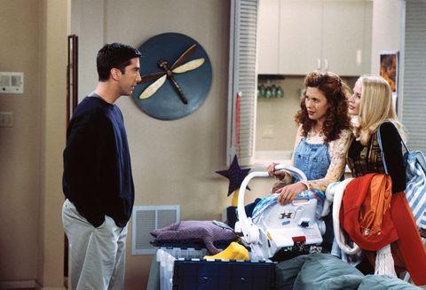Friends, Ross (David Schwimmer), Carol (Jane Sibbett) and Susan (Jessica Hecht)