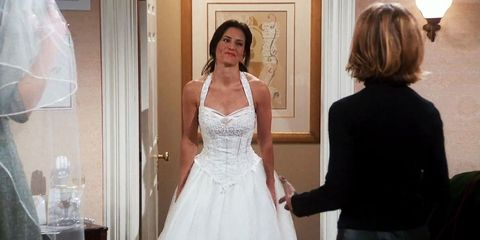Monica trying wedding dresses on Friends
