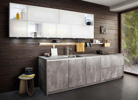 cocina con panelado de madera