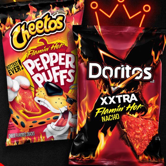 frito lay cheetos flamin' hot pepper puffs and doritos xxtra flamin' hot bacho chips