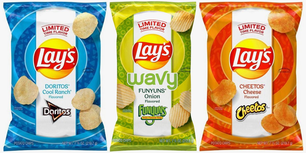 Lay's Just Released Chips That Taste Like Doritos Cool Ranch, Cheetos Cheese, And Funyuns Onion