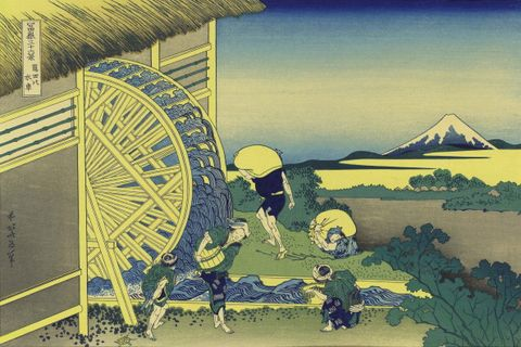 Waterwheel at Onden: 'From 'Thirty-six Views of Mount Fuji', c1831. Katsushika Hokusai (1760-1849) Japanese Ukiyo-e artist. Peasants collect water while others carry sacks to the mill for grinding. Technology Power Water Landscape ...