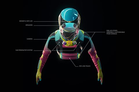 the front of the micrashell suit, which includes sensor and info led lights, a camera, an nfc link pouch, and more