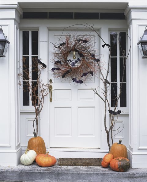 Front door decorated for Halloween