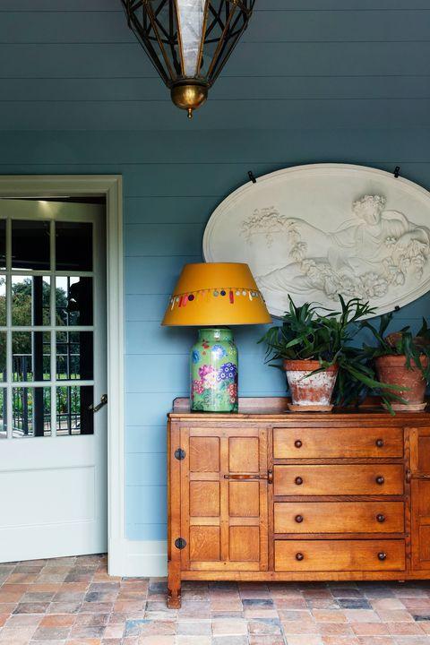 porch with dresser