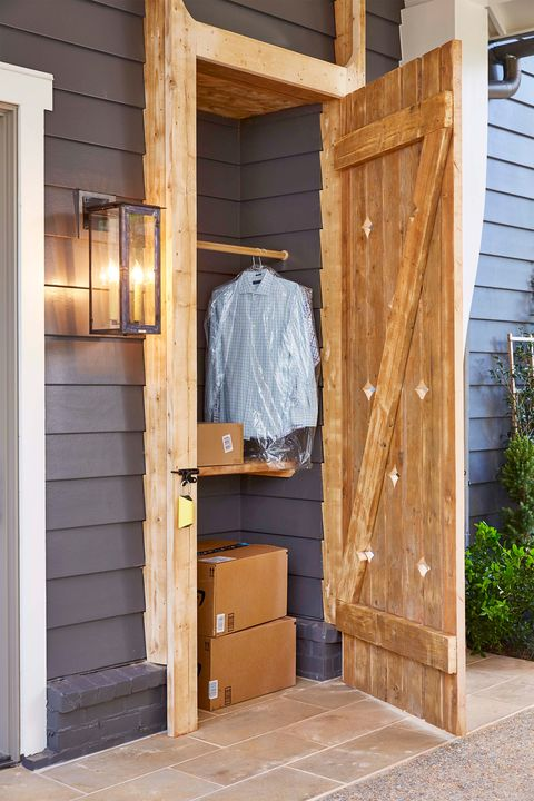 front porch with package closet