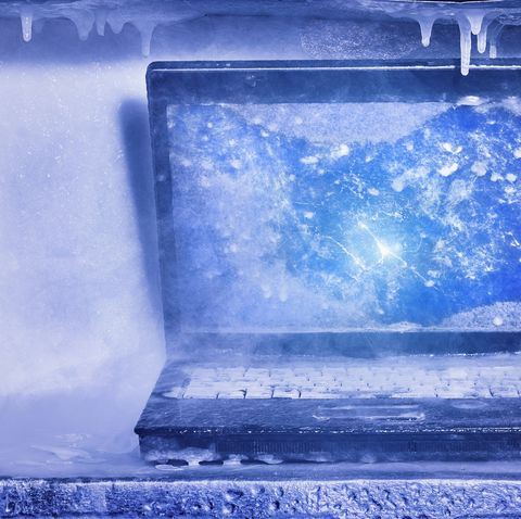 Frozen laptop computer