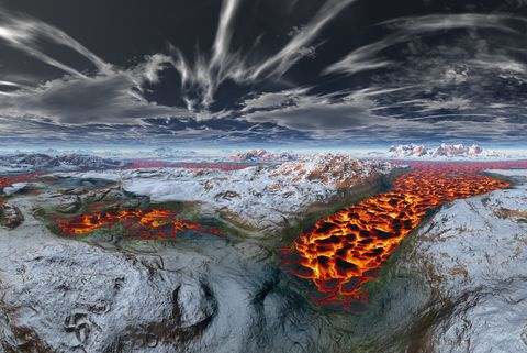 Frozen volcano with liquid lava in middle, Iceland