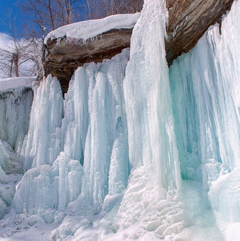frozen waterfall indian falls ontario canada