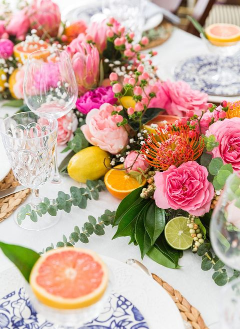 fruit and flower spring centerpiece