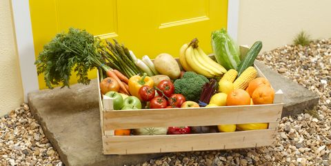 fruit and vegetable delivery on a front doorstep