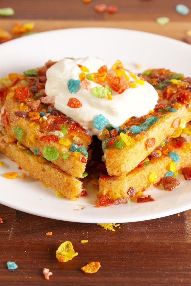 kid-friendly breakfast recipes -Fruity Pebble French Toast