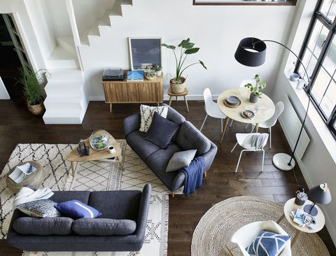 Living room, Blue, Room, Interior design, Furniture, Green, Coffee table, Property, House, Purple,