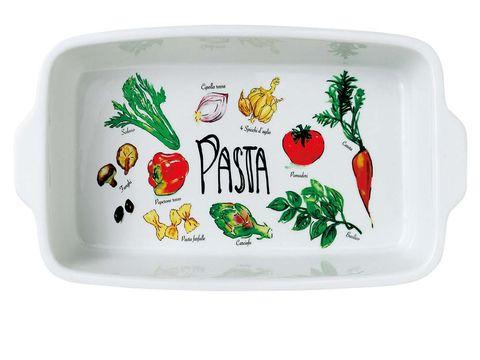 fuente decorada con imágnes de verduras para la pasta o la ensaladilla