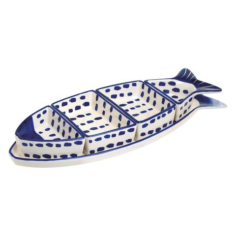 Fuente con forma de pez, set para aperitivos