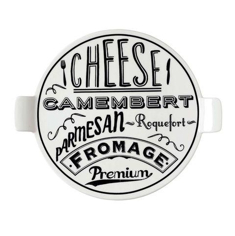 Fuente de porcelana blanca para el queso
