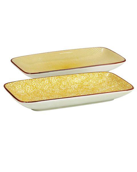 Menaje: Pareja de fuentes amarillas