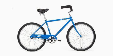 Land vehicle, Bicycle, Bicycle wheel, Bicycle part, Vehicle, Bicycle frame, Bicycle tire, Spoke, Blue, Bicycle stem,