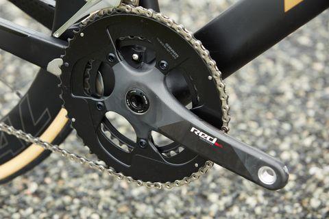 Bicycle part, Bicycle drivetrain part, Crankset, Groupset, Vehicle, Bicycle, Bicycle wheel, Wheel, Mountain bike, Carbon,