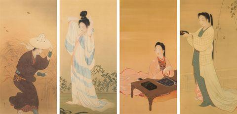 木島櫻谷 婦女図屏風