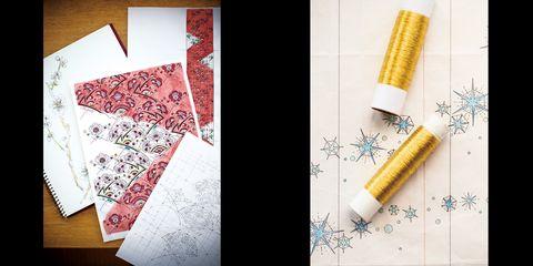 福田さんの「天象華」の草稿と用いた刺繡糸(右)と鈴田さんの「梅が香」のスケッチ(左)