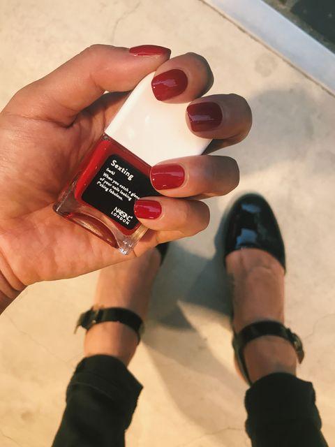 Nail, Finger, Hand, Nail polish, Cosmetics, Nail care, Thumb, Material property, Manicure, Gloss,
