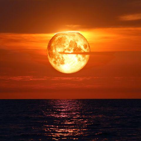 full blood moon on night sky over sea silhouette cloud