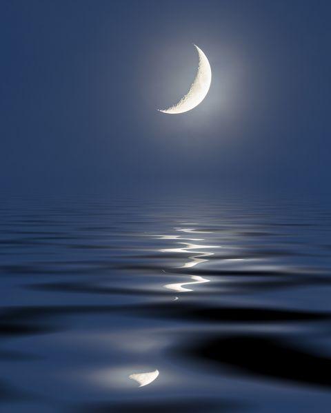月が海を照らす画像