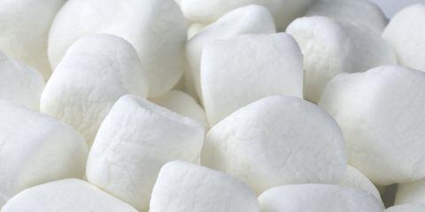Full frame of white mini Marshmallows (Althaea officinalis)