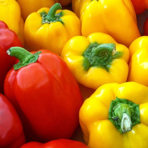 Full Frame Shot Of Bell Peppers At Market