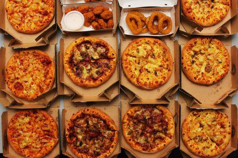 Full Frame Shot Of Pizza In Boxes
