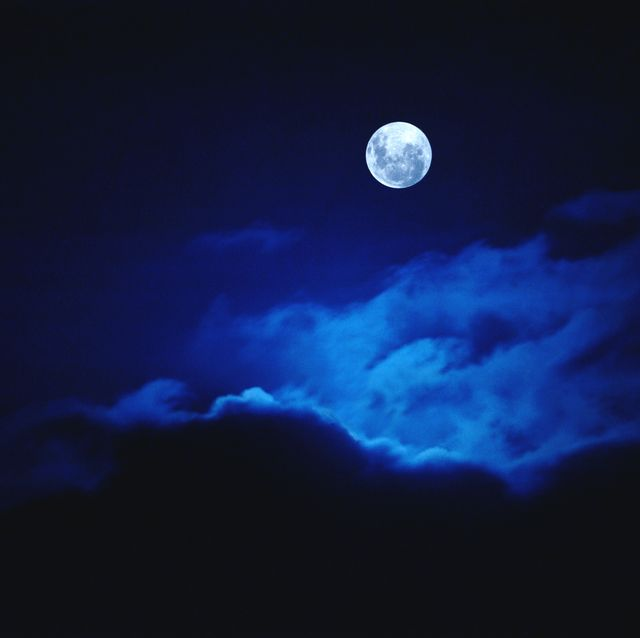 full moon illuminating clouds