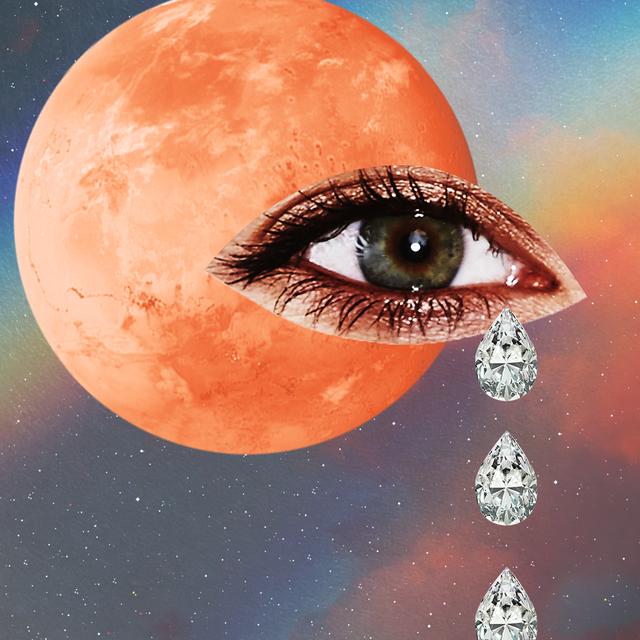 an eye cries diamonds over a harvest moon, across a prism starry sky