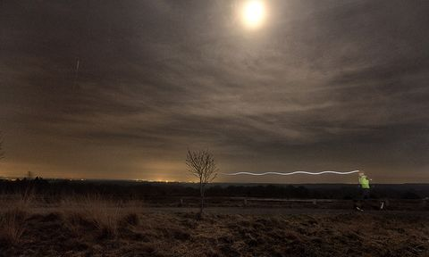 Sky, Cloud, Light, Night, Atmosphere, Natural landscape, Atmospheric phenomenon, Darkness, Horizon, Tree,