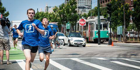 Runners Versus Green Line Trolley