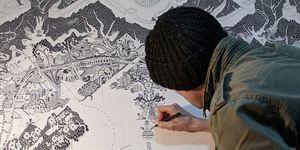 Gareth Fuller disegna la mappa di Pechino