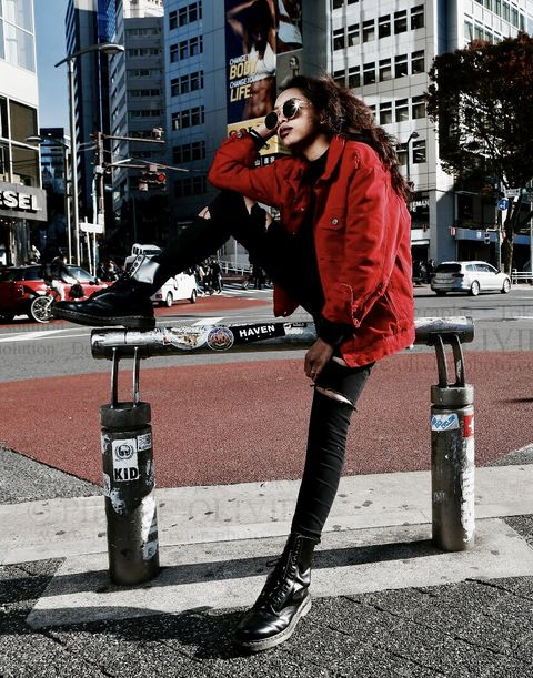 Photograph, Street fashion, Red, Fashion, Snapshot, Beauty, Urban area, Footwear, Fur, Standing,