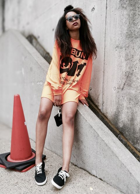 Clothing, Street fashion, Fashion, Beauty, Cool, Photo shoot, Orange, Eyewear, Footwear, Fashion model,