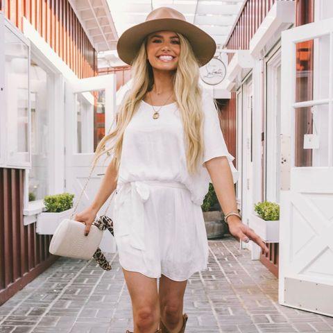 Clothing, White, Street fashion, Photograph, Footwear, Shoulder, Hat, Fashion, Boot, Dress,