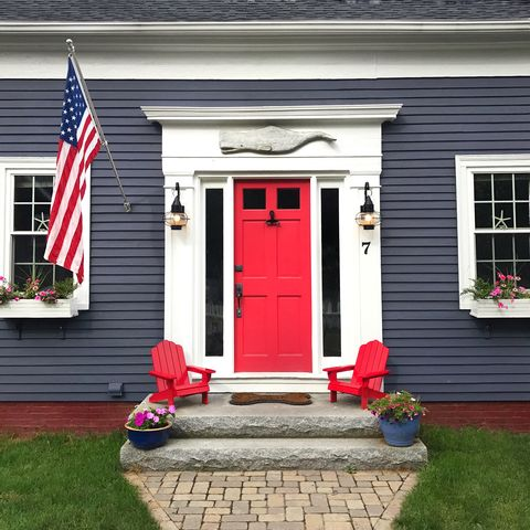 blue house with red door
