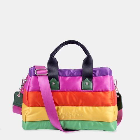 Handbag, Bag, Shoulder bag, Yellow, Purple, Violet, Fashion accessory, Magenta, Product, Orange,