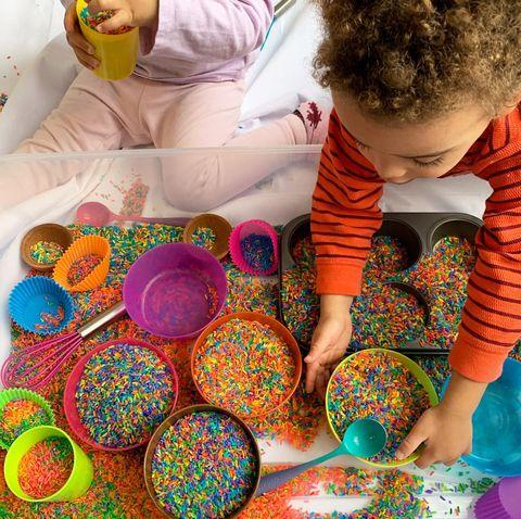 Fun Toddler Activities - Rainbow Rice