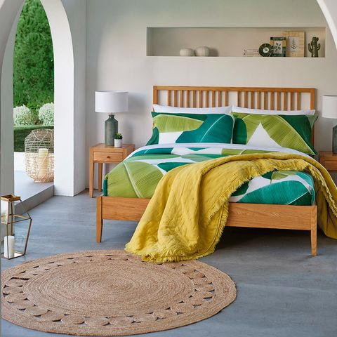 Bedroom, Furniture, Bed, Room, Bed sheet, Bed frame, Green, Bedding, Yellow, Turquoise,