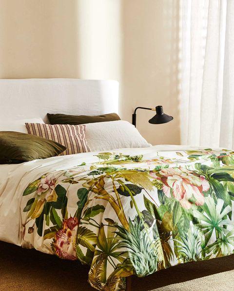 funda nórdica de algodón percal de 200 hilos con estampado de hojas y flores tropicales